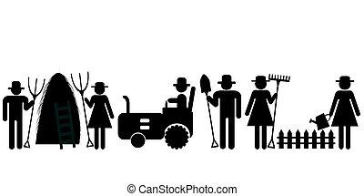 農場, pictograms, 労働者, 農夫