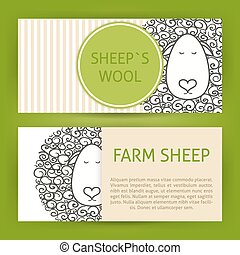 農場, sheep, 愚か者, 概念, 手, 引かれる, スタイル, ベクトル, テンプレート, 旗, セット