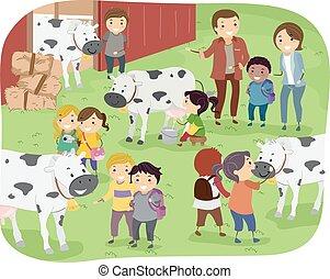 農場, stickman, 子供, 搾乳場, 旅行