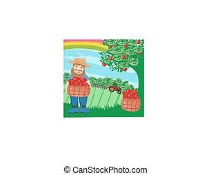 農夫, ∥で∥, a, リンゴのバスケット
