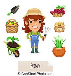 農夫, セット, 女性, アイコン