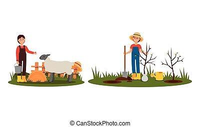 農夫, 供給, 女, イラスト, ベクトル, 木植わること, 実生植物, セット, 家畜