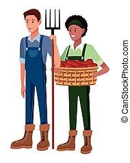 農夫, 動物, 卡通, 農場
