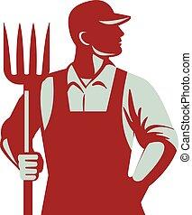 農夫, 干し草用フォーク, 有機体である, レトロ