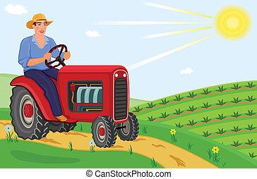 農夫, 拖拉机, 開車, 他的