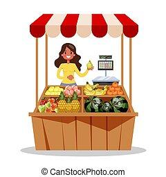 農夫, 新たに, 売る, 幸せ, 収穫, 農場, 有機体である