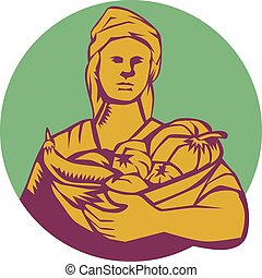 農夫, 木版, 女性, 収穫, 円, 有機体である, バスケット