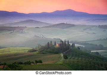 農家, トスカーナ, san, quirico, d'orcia, belvedere, 夜明け, イタリア