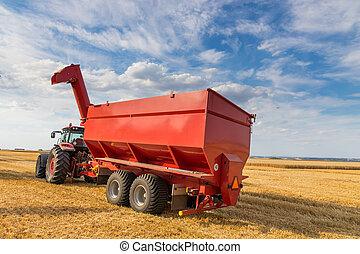 農業, トラクターの トレーラー, 収穫する