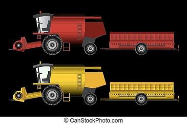 農業, ベクトル, トラクター, 装置, 収穫機