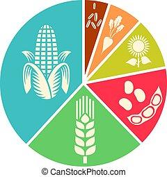 農業, 大豆, ビジネス, (corn, 小麦, ひまわり, パイ・チャート, 米, 砂糖, beet)