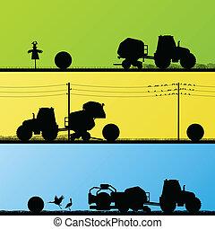 農業, 拖拉机, 做, 干草汲水, 在, 培養, 國家, 領域, 風景, 背景, 插圖, 矢量