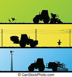 農業, 拖拉机, 播種, 庄稼, 培養, 以及, 噴射, 在, 培養, 國家, 領域, 風景, 背景, 插圖, 矢量