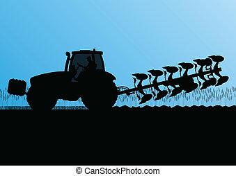 農業, 拖拉机, 犁, the, 陸地, 在, 培養, 國家, 五穀, 領域, 風景, 背景, 插圖, 矢量