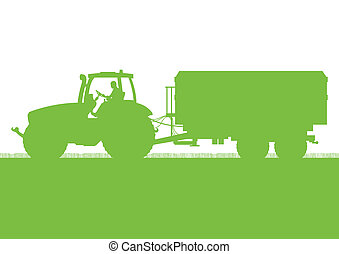 農業, 拖拉机, 由于, 玉米, 拖車, 在, 培養, 國家, 五穀, 領域, 風景, 背景, 插圖, 矢量