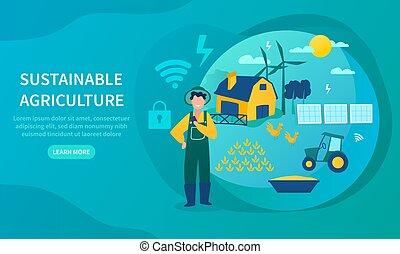 農業, 概念, エネルギー, 緑, 支持できる, 使うこと