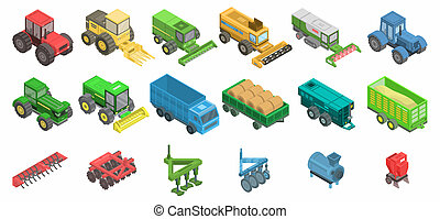 農業, 機械, アイコン, セット, 等大, スタイル
