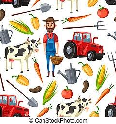 農業, 農場, パターン, 農夫, seamless, 牛