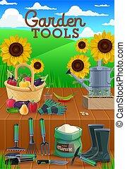 農業, 野菜, 道具, 庭, 園芸