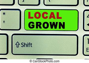 農業, grown., 田舎, テキスト, 提示, locally, 印, 生産された, 写真, 概念, 新鮮な野菜