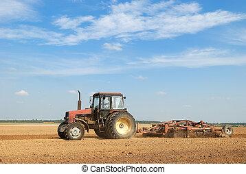 農業, ploughing, トラクター, 屋外で