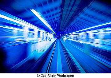 迅速, station., 渡ること, 列車, 列車