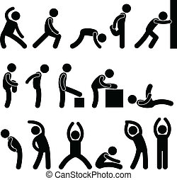 运动, 伸展, 练习, 人们