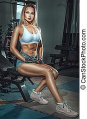 运动, 女孩, 在中, the, gym.