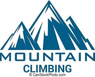 运动, alp, 山攀登, 矢量, 隔离, 图标