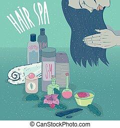 运用, 洗发液, 长的头发, 调节器, 女孩, 或者