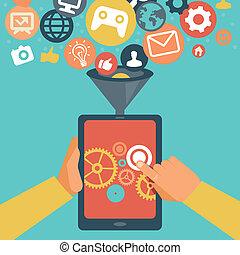 运载工具, 发展, app, 矢量, 概念