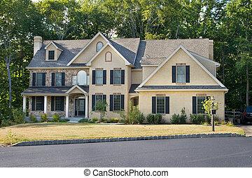 近代化された, 家, フィラデルフィア, 郊外, 新しい, 一つのファミリー, georgian/colonial, pa., style.