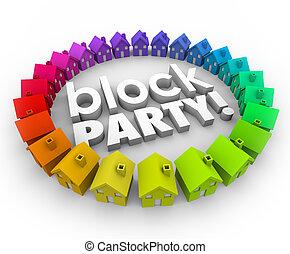 近所, 共同体, 家, パーティー, でき事, ブロック, 祝福
