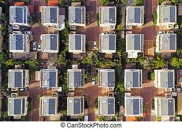 近所, 航空写真, 中央, 郊外, 家, image., クラス
