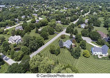 近所, 郊外, 航空写真