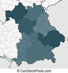 近隣, bavaria, 連邦である, 州, 地図