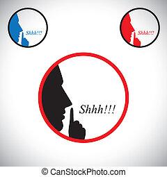 这, 表明, &, 男性, 他的, 停止, 使用, 提高, 人, shh, 概念, 年轻, 沉默, 谈话, 包含, 噪音, 人 , 图表, -, 手, 说, 是, 做, 食指, vector., 姿态