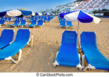 远景, arona, adeje, tenerife, 海滩, 南方, las