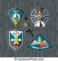 远足, 徽章, 露营