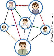连接, 网络, 人们