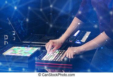 连通性, 概念, midi, 音乐, 混合, 手, 控制器