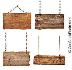 连锁, 木制, 签署, 绳索, 背景, 悬挂, 消息
