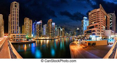 迪拜, 射击, 全景, 地平线, 夜晚, 小游艇船坞