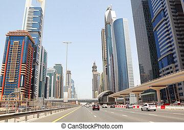 迪拜, -, april, 18:, 一般, 看法, 上, 樹干, 路, 以及, 摩天樓, 上, april, 18,...