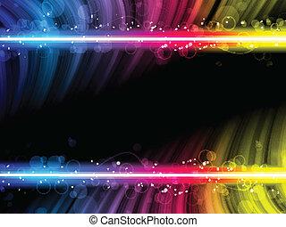 迪斯科, 摘要, 鮮艷, 波浪, 上, 黑色的背景