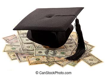 迫擊炮上, 以及, the, dollar., 教育的費用, 在, america.