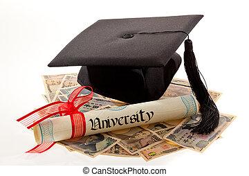 迫擊炮上, 以及, the, yen., 教育, 費用, 在, japan.
