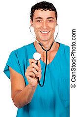 迷人, 醫生, 藏品, a, 聽診器