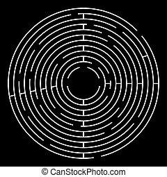 迷宮, 環繞, 矢量, illustration., 白色, 迷宮, 上, 黑色, 背景。