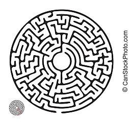 迷宮, 矢量, 黑色, 輪